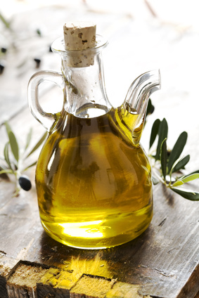 bottle of pure fresh olive oil