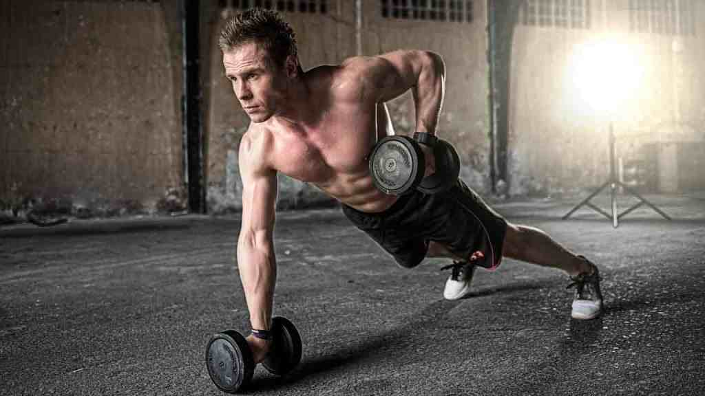 One arm push up with fit male